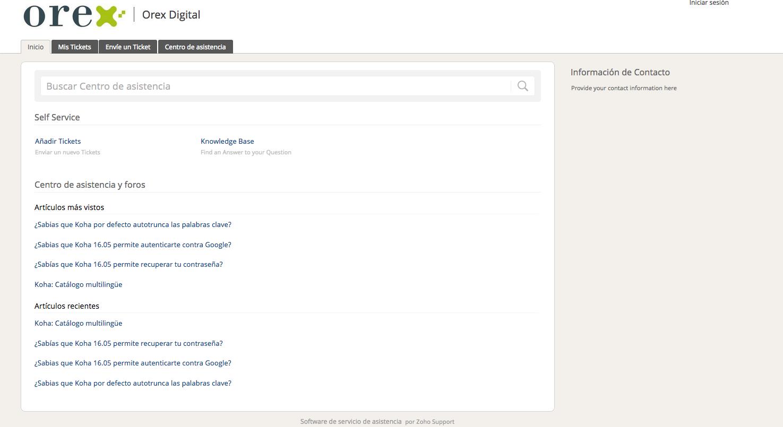 Portal de soporte de Orex Digital